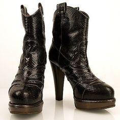 Auth Bottega Veneta black snake skin leather platform booties boots 38.5 shoes