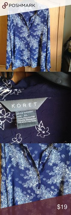 ✨Blue Floral Beauty✨ Sheer collared button up, navy with small white floral pattern, slight pucker detail in the fabric. In excellent used condition. Koret Tops