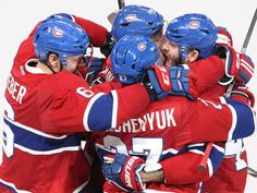Montreal Canadiens right wing Alexander Radulov, far right, celebrates his goal with teammates Shea Weber (6), Alex Galchenyuk (27), Andrei Markov (79) during third period NHL action in Montreal on Tuesday October 18, 2016.