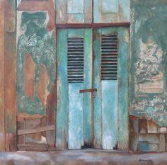 Verval 1 Dit werk is de eerste uit een serie van 5 vervallen deuren die ik in de loop der jaren heb gefotografeerd. Ze zijn geschilderd in gemengde techniek met o.a. zand, verschillende soorten papier en acryl. Anneke Brussee