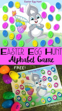 FREE printable Easter Egg Hunt alphabet game with letter tracing, do-a-dots and ideas for more alphabet learning! Download at:  http://www.totschooling.net/2016/03/easter-egg-hunt-alphabet-game-free-printable.html