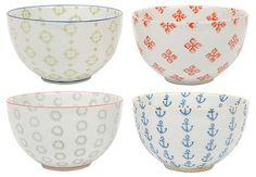 "S/4 Round Ceramic Bowls, 4.75"" | $30 Thrills | One Kings Lane"