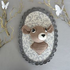 Trophée renard gris/blanc au crochet | Crochet and Decoration