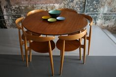 Hans Wegner dining table with six Heart chairs  Denmark 1950s