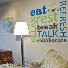 Teachers Lounge Relaxing Wall Words A wonderful way to dress up an employee or teacher's lounge area. Select colors to match your School or Business logo! Staff Lounge, Student Lounge, Teacher Lounge, School Hallways, School Murals, Home Design, Design Design, Design Trends, Teacher Morale