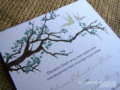 Wedding Invitations, Romantic, Country Chic, Swooping Swallows and a Tree Branch Wedding Invitation -Sample Set-. $5.00, via Etsy.