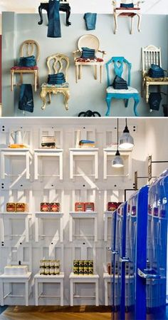 Chairs hung on the wall as shelves. More artful than really functional shelving, this idea is an eye-catching installation for a shop.