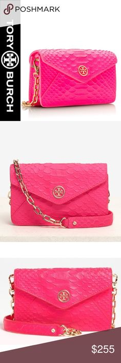 """Tory Burch """"Neon Snake"""" CrossBody Pink Purse NWT Looking to make a stand-out statement? Hand-cut scales on cowhide leather add exotic texture to a structured, leather crossbody bag in a sizzling neon pink hue. Great color for spring hot enough to take you into summer! 