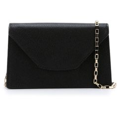 Valextra Iside Crossbody Bag ($737) ❤ liked on Polyvore featuring bags, handbags, shoulder bags, black, black shoulder bag, black cross body purse, black purse, valextra handbags and black crossbody