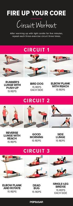 While your core is certainly targeted, your whole body will be feeling the burn with this dynamic core circuit workout that combines strength-training moves with light cardio. Just print out this poster and tone your core at home, the office, or the gym.
