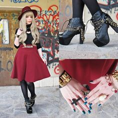 Jeffrey Campbell Lita Coco, Lookbook Store  Black Bracelet, Evris Burgundy Skirt