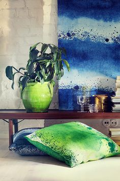 Take A Chance On This Bold Home-Decor Color Trend #refinery29  http://www.refinery29.com/marimekko-2015-spring-home-lookbook#slide4  If we can't wait until 2015, we might just have to tie-dye some pillowcases ourselves.