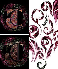 Hand made logo design process of design by a illustrator Watercolor Artwork, Floral Watercolor, Watercolour, Hand Drawn Lettering, Lettering Design, Creative Logo, Creative Design, Ornament Drawing, Vintage Logo Design