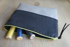 Vegan/Faux Leather and Organic Cotton Zipper Pouch in Grey and Pewter with Contrasting Zipper