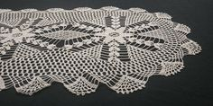 Handmade Crochet Large Doily Table Runner, Vintage 90s, 43x108cm / 17x42.5in Lace Curtain Panels, Light Colors, Colours, Crochet Table Runner, Beautiful Curtains, Light Beige, Embroidered Flowers, Doilies, Table Runners