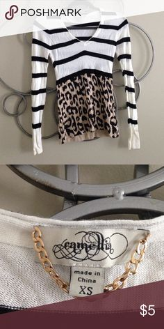 NWOT sweater! Never worn! Cheetah and stripes! Very light sweater!! V-neck! Camellia Sweaters V-Necks