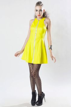 BLIND AMBITION Skater Dress - Neon Yellow UV Reactive - Futuristic Cyber Rave Club - Black Light Fluorescent - Fit and Flare Kawaii - Zipper
