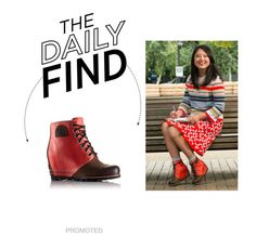"""Daily Find: Sorel 1964 Premium Wedge in Bonfire"" by polyvore-editorial ❤ liked on Polyvore featuring SOREL and DailyFind"