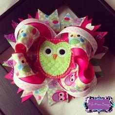 Birthday Owl OTT Bow Owl themed Birthday Boutique Bow
