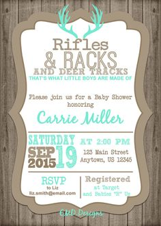 Baby Boy Shower Invitation Hunting Deer Antler Rustic Baby Tap the link now to find the hottest products for your baby! Baby Shower Decorations For Boys, Boy Baby Shower Themes, Baby Shower Centerpieces, Baby Boy Shower, Hunting Baby Showers, Deer Baby Showers, Baby Shower Gifts For Boys, Baby Boy Background, Wood Background