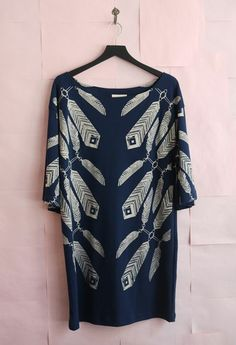 Ivana Helsinki Print Dress - Navy Blue