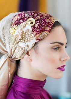Stunning! You can't go wrong with this beautiful combination of cream and purple materials and laces! This head covering is perfect for holidays and special occasions. This easy-tie head covering is a large triangle, made of spandet.