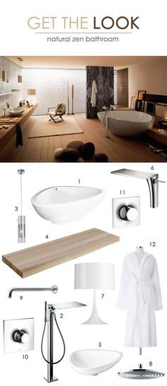 Zen-Inspired Bathroom: 1. Hansgrohe Massaud tub 2. Hansgrohe Massaud tub filler 3. Trend Scope pendant 4. Duravit Fogo console 5. Hansgrohe Massaud sink 6. Hansgrohe Massaud faucet 7. Flos Spun lamp 8. Hansgrohe Raindance showerhead 9. Hansgrohe showerarm 10. Hansgrohe Massaud therm trim 11. Hansgrohe Massaud volume control 12. White plush robe - Receive the robe FREE when you shop this look!