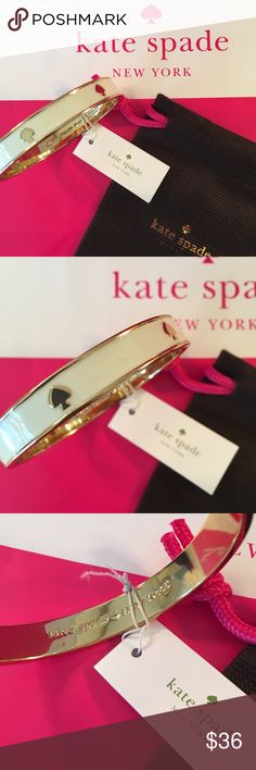 KATE SPADE NEW BRACELET 100% AUTHENTIC KATE SPADE NEW WITH TAGS BANGLE BRACELET.  COMES WITH KATE SPADE VELVET JEWELRY POUCH.  FOREVER STYLISH AND FASHIONABLE .  PERFECT FOR ANY OCCASION AND 100% AUTHENTIC kate spade Jewelry Bracelets