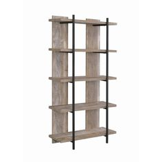 This bookcase's design stands out in its one-of-a-kind appeal, thanks to five broad, white wood shelves, and a frame composed of black metal, with wide vertical planks as support in the back. It adds up to a rustic look that's utilitarian and beautiful, perfect for a farmhouse or casual-contemporary decor scheme. Features: Set includes: One (1) bookcase Dimensions: 70.75 inches high x 35.5 inches wide x 13 inches deep Finish Color: Weathered Oak and Black This product will ship to you in one (1) Modern Bookshelf, Wooden Bookcase, Etagere Bookcase, Oak Shelving Unit, White Wood Shelves, Weathered Oak, Organizing Your Home, Dining Chair Set, Furniture Deals