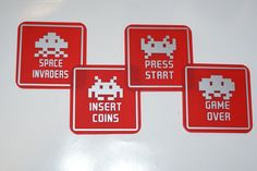 SPACE INVADERS set of 4 Square Coasters ..Matt Red Perspex with Matt Silver Graphics...£14.95 + Delivery... see www.mojo-shop.co.uk for more details