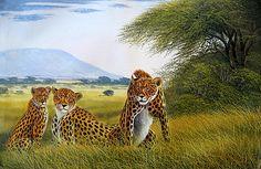 Cheetah Family by Jane Wanjeri, female artist of Kenya Cheetah Family, Kenyan Artists, Art Forms, Giraffe, Africa, Female Artist, Painting, Animals, Felt Giraffe