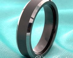 Black Tungsten Wedding Band 8mm Beveled Edges His by DeluxeBands