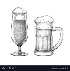 Beer glass and beer mug vector image on VectorStock Wine Tattoo, Surf Tattoo, Scary Drawings, Logo Design Love, German Beer Mug, Drawing Exercises, Cartoon Tattoos, Pen Sketch, Estilo Retro