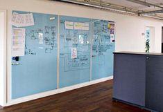Pizarra blanca de vidrio magnética: que funcione para poner planos con magnetos, escribir y proyectar. Probablemente lo mejor sería tenerla en la sala de reuniones