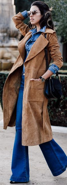 FRAME Le Duster suede coat | HUDSON Taylor high waist flare jeans | CHLOE Hudson bag | ESTELLE DEVE ring set  | BARDOT denim shirt | ISABEL MARANT pumps