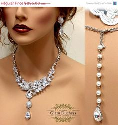 Wedding jewelry set Bridal necklace earrings by GlamDuchess, $206.50