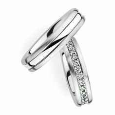 Wedding Rings Couple Wedding Band With Diamond. Available In Gold,  Palladium, Platinum