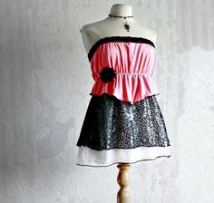 Pink Women's Top Black Sequins Peplum Shirt Strapless Tunic Eco Friendly Clothing Reconstructed Romantic Clothes Large 'VIENNA'