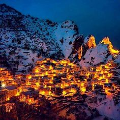 The beautiful Village of Hewraman in Winter, Province Kurdistan, Iran.