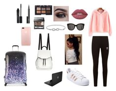 """""""Airport outfits"""" by tiamaria51404 ❤ liked on Polyvore featuring Heys, adidas Originals, rag & bone, Smashbox, NARS Cosmetics, adidas, Malin + Mila, Sephora Collection, Lime Crime and Gentle Monster"""