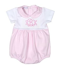 61a2c43f839c Hug Me First White   Pink Monogrammed Bubble Romper - Infant