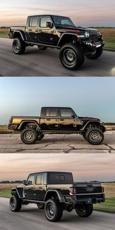 Hellcat-Powered Hennessey Gladiator Prove It's The Ultimate Jeep. The Gladiator Maximus 1000 could only come from one place: Texas. Auto Jeep, Jeep Pickup, Jeep Jk, Jeep Truck, Pickup Trucks, Jeep Gladiator, Gladiator Maximus, Jeep Wrangler Unlimited, Two Door Jeep Wrangler