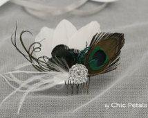 Tocado de plumas para novia, tocado boda, tocado madrina, tocado vintage, broche peinado novia, peineta novia