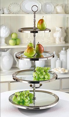 Two's Company 4-Tier Mirrored Tray : Le Grande Buffet four-tier round mirror tray, crafted of nickel plated brass and glass. An attractive solution for a catered affair! 13 3/4