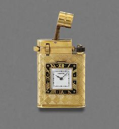 CARTIER. AN UNUSUAL 18K GOLD AND ENAMEL LIGHTER WATCH SIGNED CARTIER, PARIS, NO.808, MOVEMENT SIGNED EUROPEAN WATCH AND CLOCK CO., CIRCA 1930. Sold in 2004 for $12,000