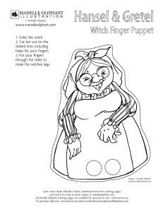 Free Coloring page Friday: Hansel and Gretel Finger Puppets - Manelle Oliphant Illustration