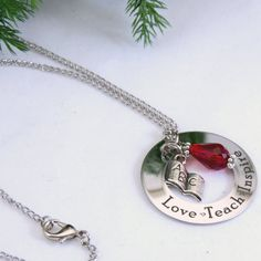 Love Teach Inspire Teacher Necklace ABC Book Charm by carenslaser, $25.00