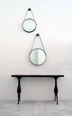 circle mirror and sweet console legs.
