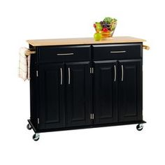 Home Styles 48.25-in L x 18.25-in W x 35.5-in H Black Kitchen Island with Casters