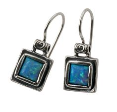 E00079OP SHABLOOL ISRAEL Handcrafted Blue Fire Opal Sterling Silver 925 Earrings #Shablool #DropDangle